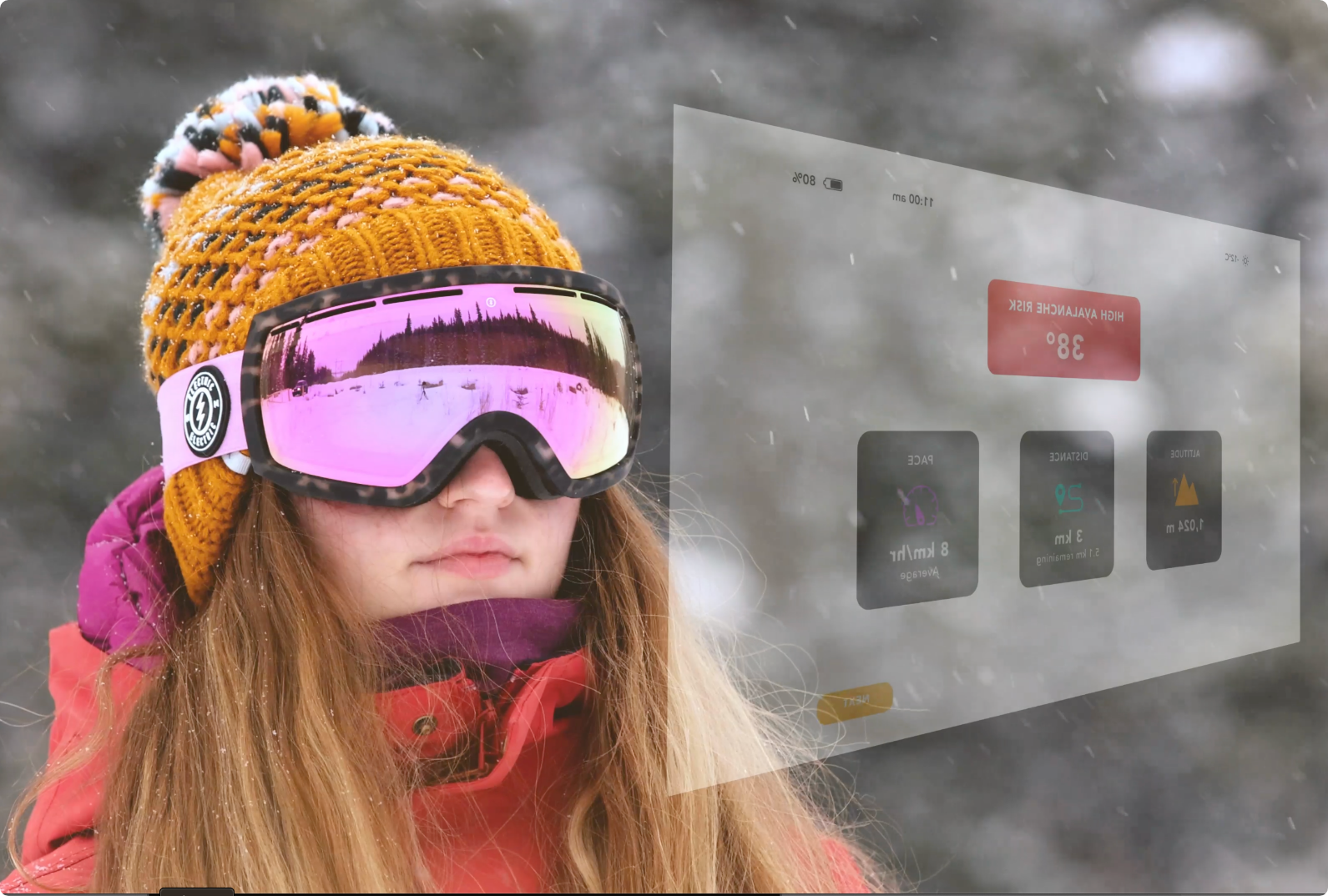 someone wearing ski goggles looking into an AR interface