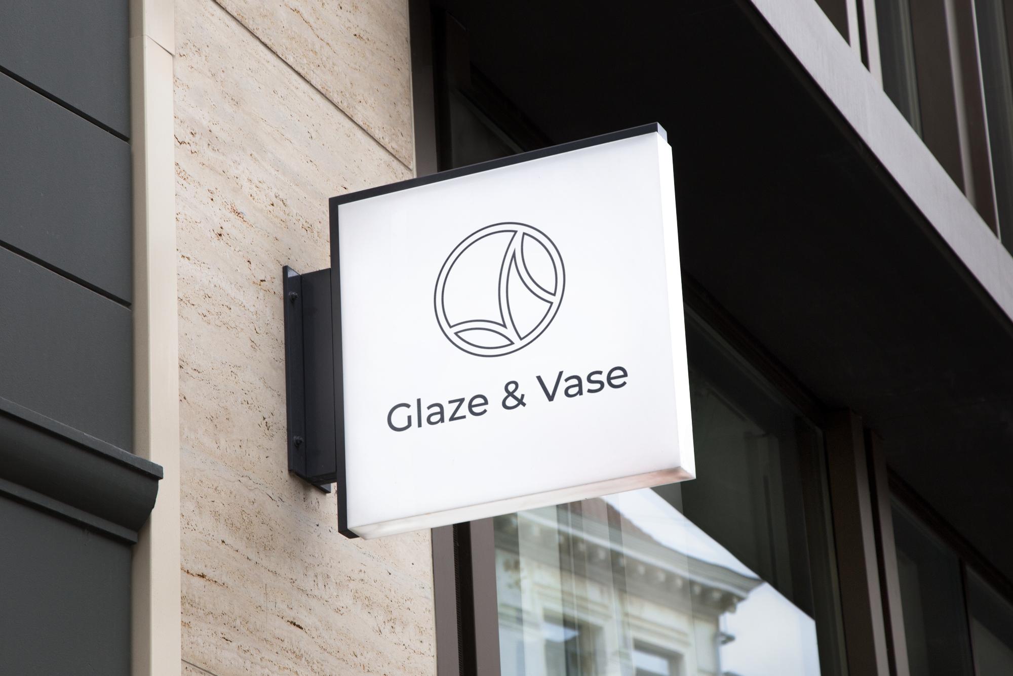 Glaze and Vase Brand Logo on a Sign