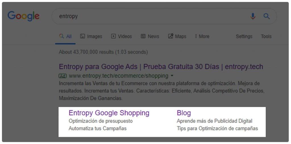 Ejemplo de anuncio extensiones