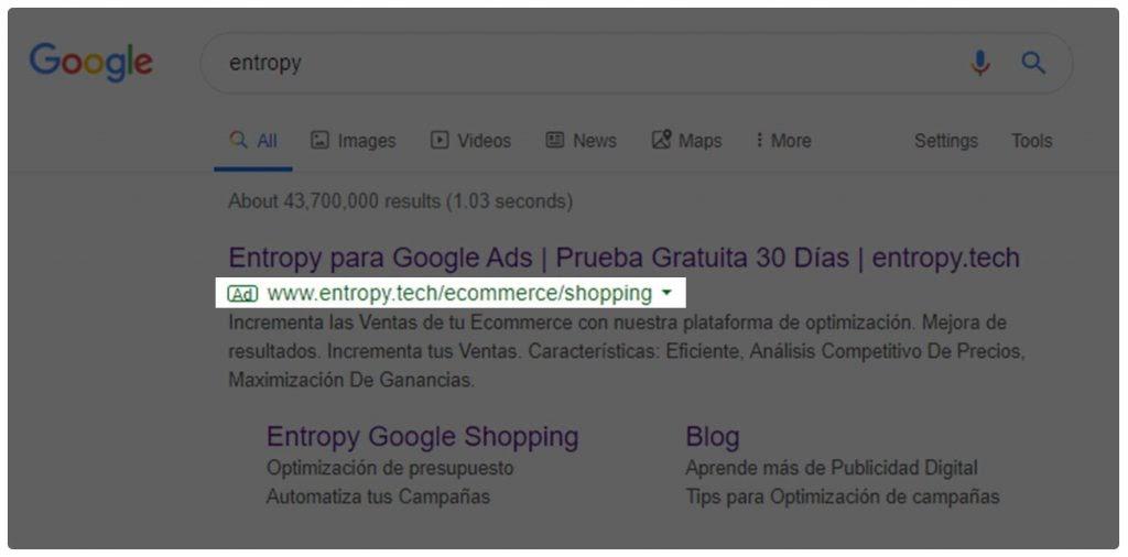 Ejemplo anuncio URL