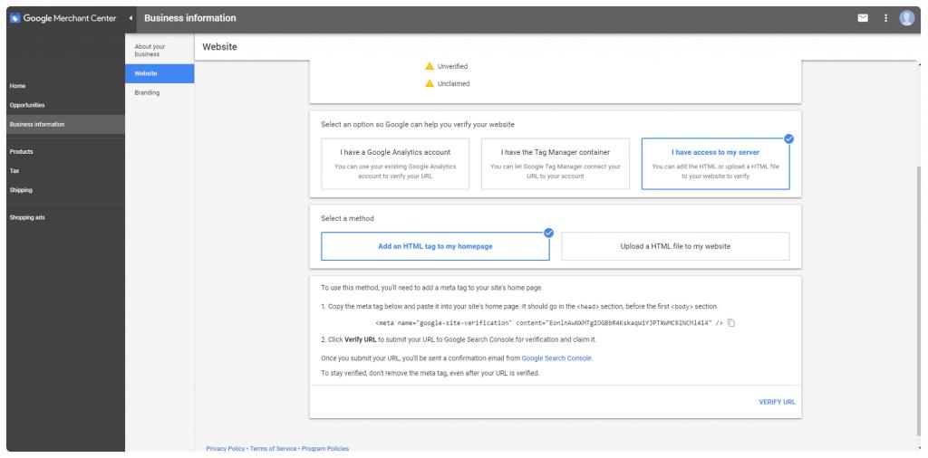 Verificar Sitio en Merchant Center Html