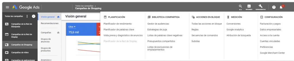 Pantalla principal Google ads, seleccionar conversiones