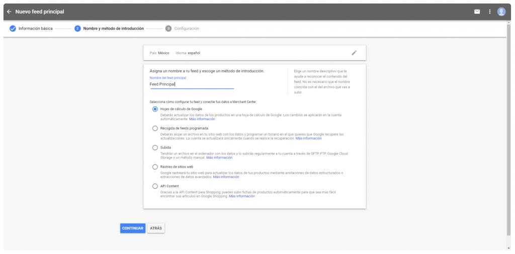 Subir feed en Google Shopping