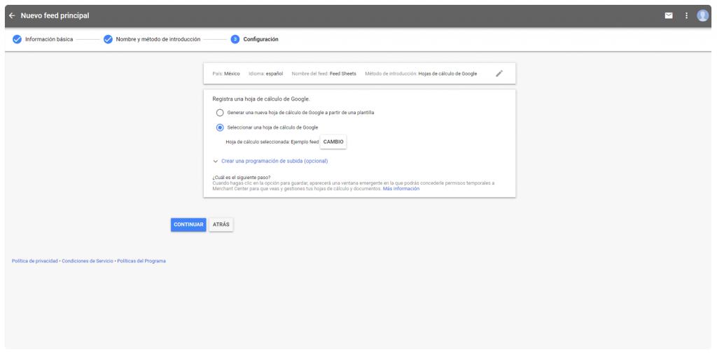 Pantalla seleccionar hoja de calculo Google