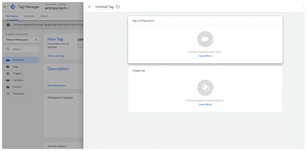 Pantalla de Google Tag Manager