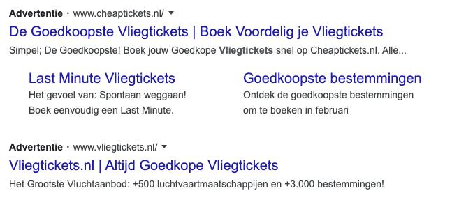 Google ads advertenties in de zoekresultaten