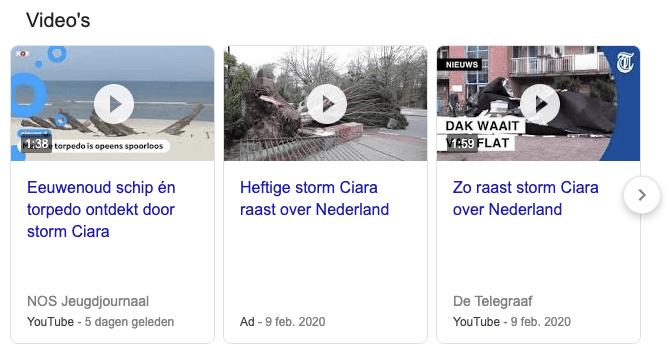 video's in de zoekresultaten