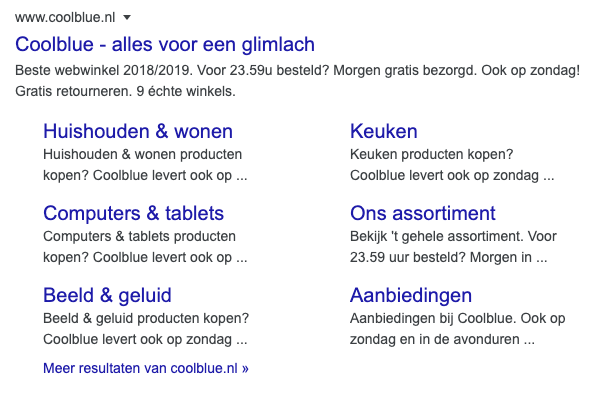 site links in zoekresultaat fragment