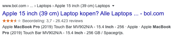 Review snippet in Google