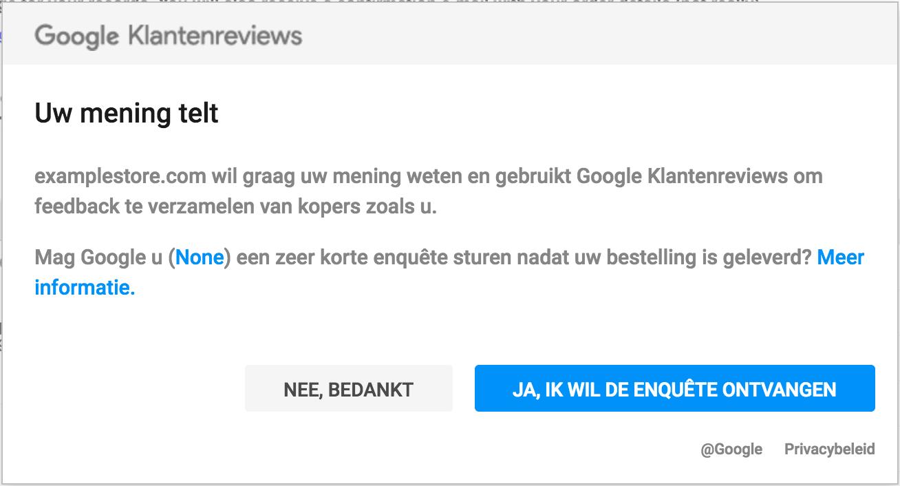Google klanten review enquete