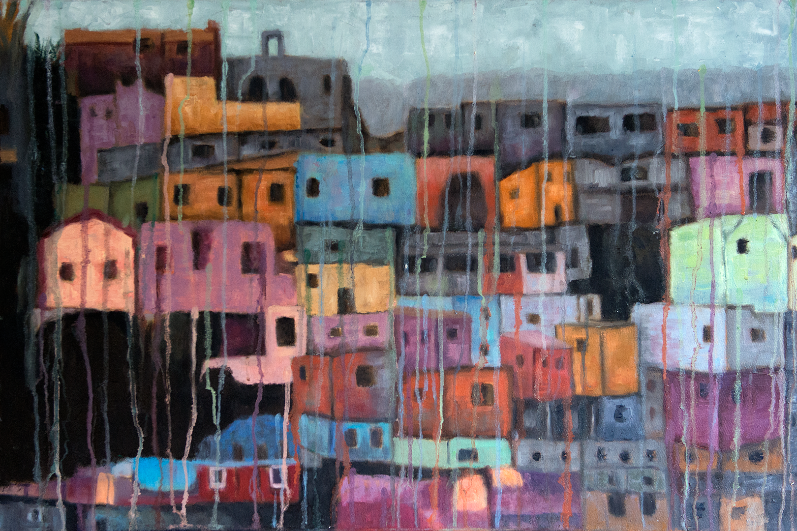 """Comunidade do Morro - 36"""" x 24"""" - Oil on canvas"""