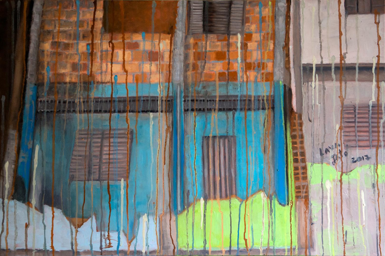 """Casa azul do Morro - 36"""" x 24"""" - Oil on canvas"""
