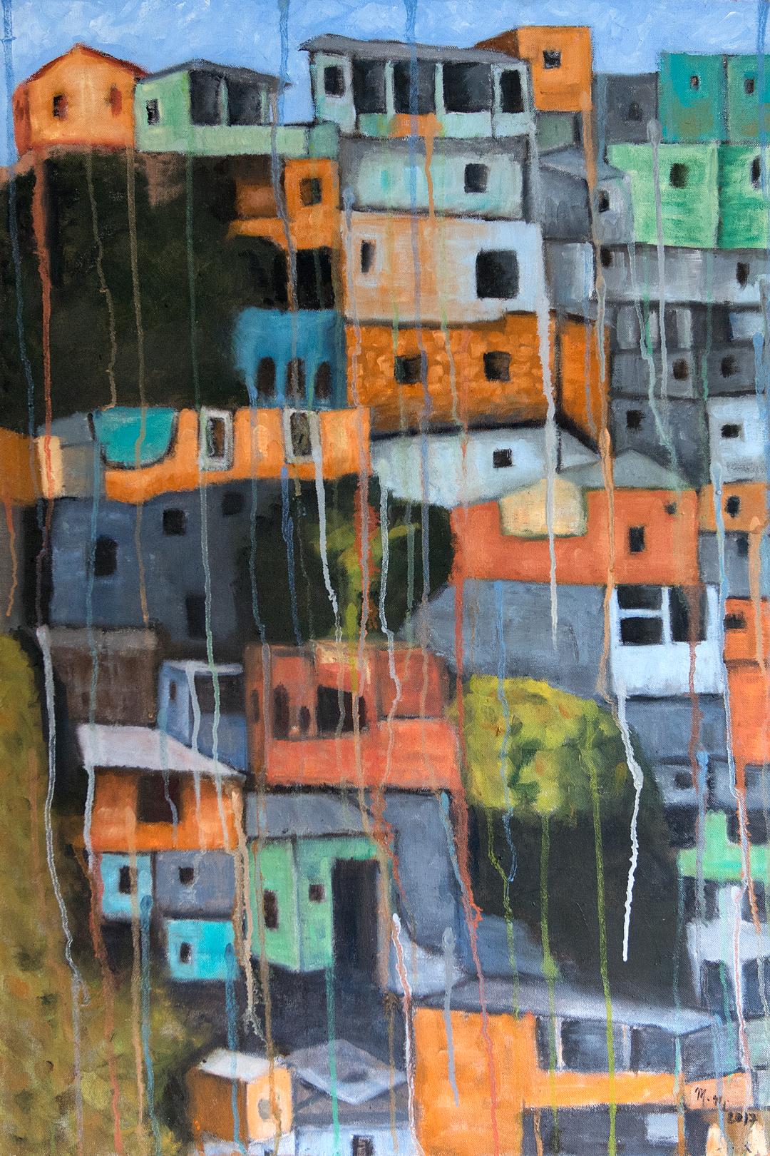 """Comunidade do Morro - 24"""" x 36"""" - Oil on canvas"""