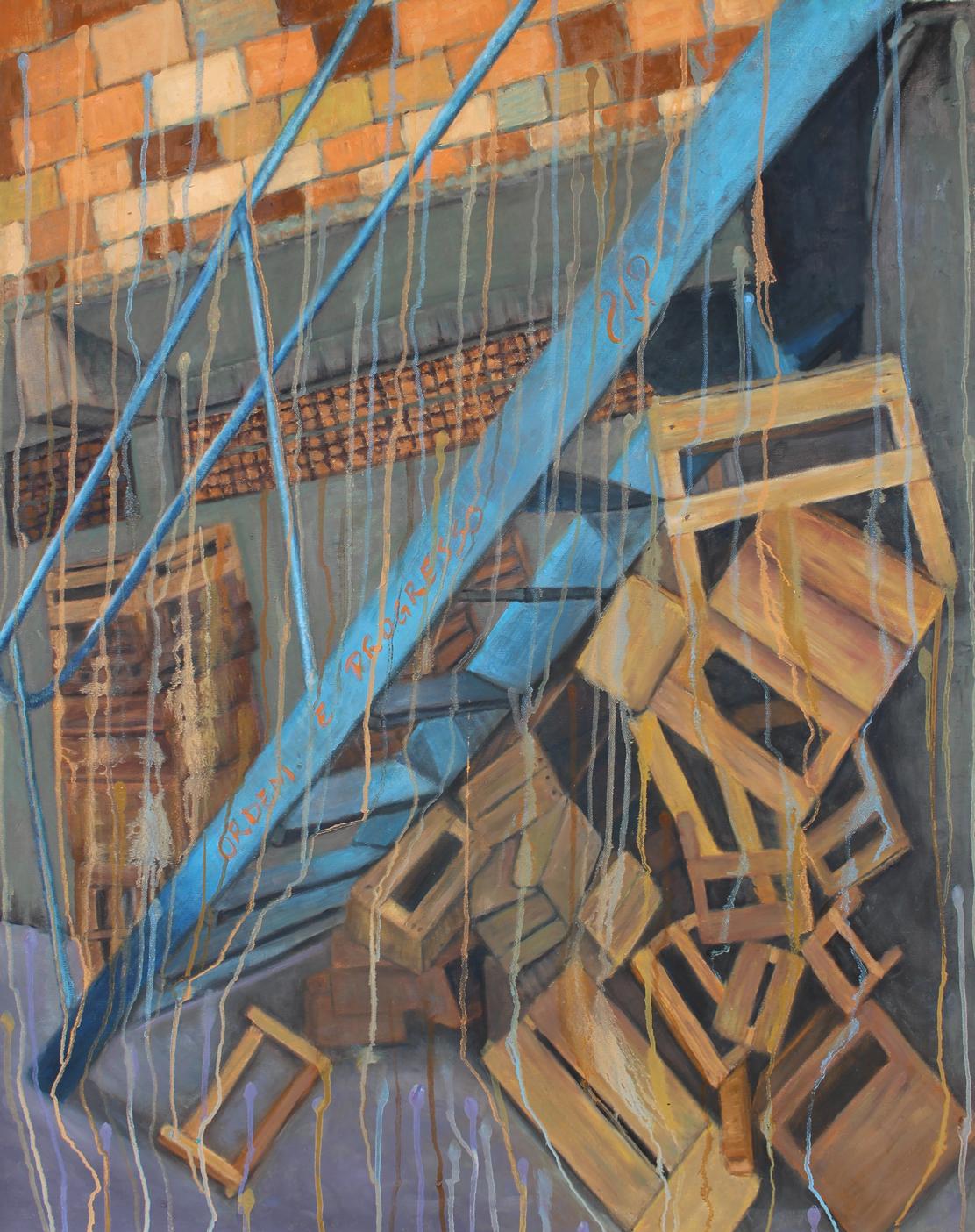 """Ordem e Progresso - 41"""" x 32"""" - Oil on canvas"""