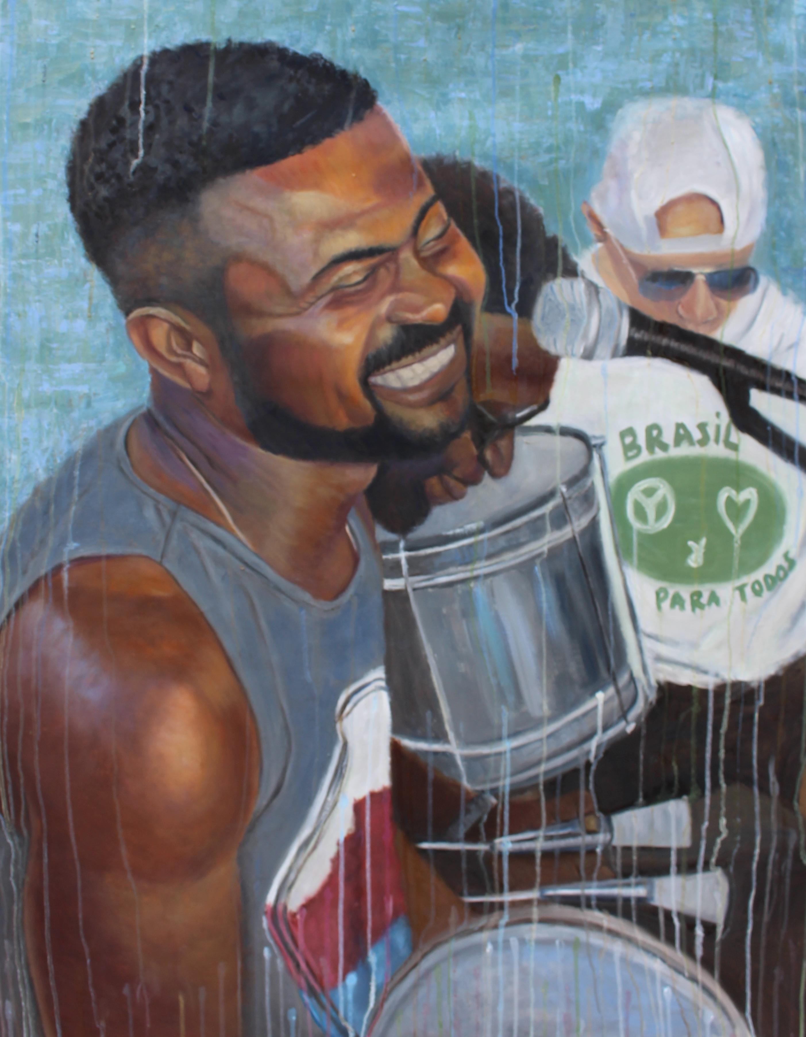 "Tem Samba no Morro - 37"" x 47"" - Oil on canvas"