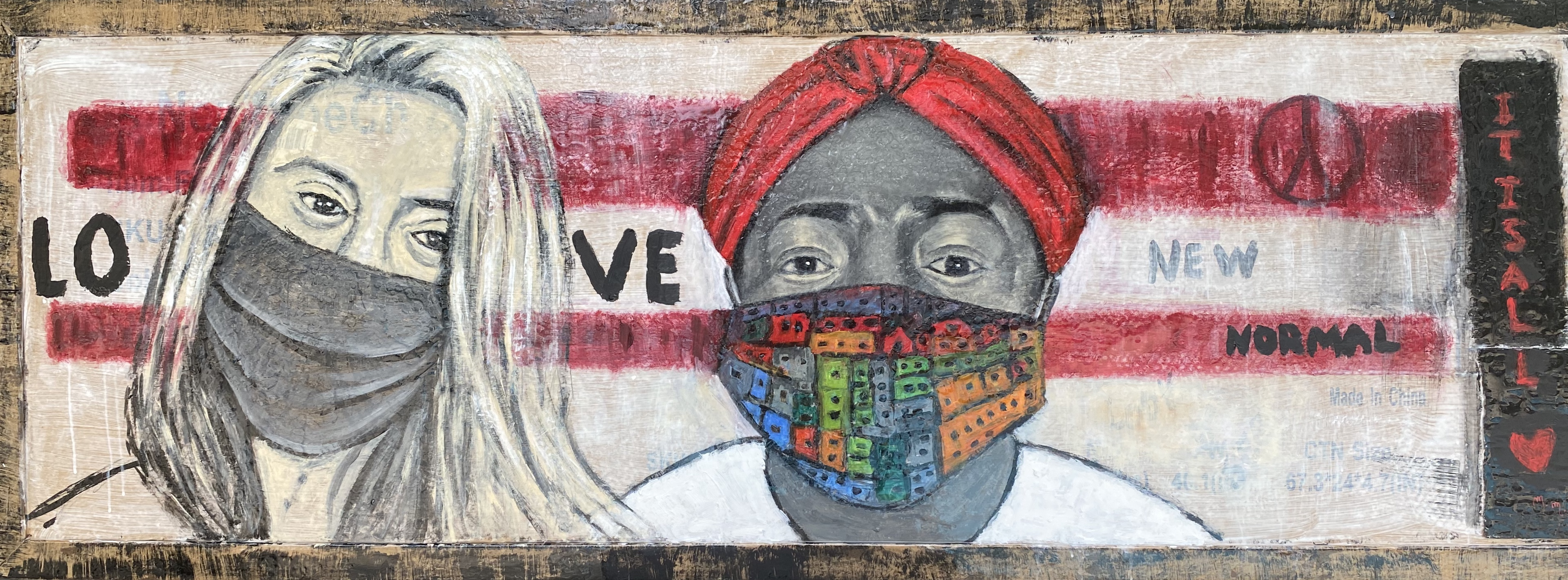 """Together We Are Stronger - 24"""" x 67"""" - Mix Media on Cardboard"""
