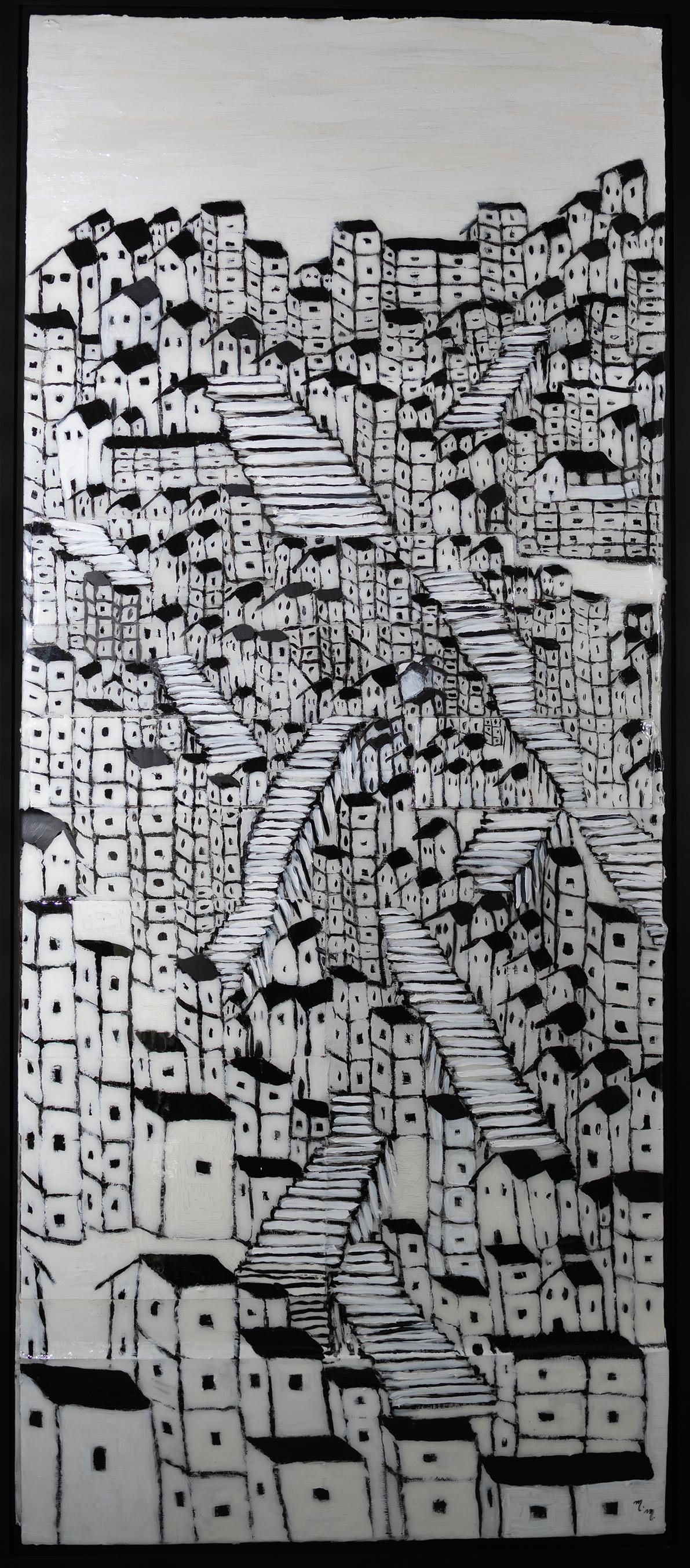 "Favela Preto No Branco - 60.5"" x 26"" - Mix Media on Cardboard"