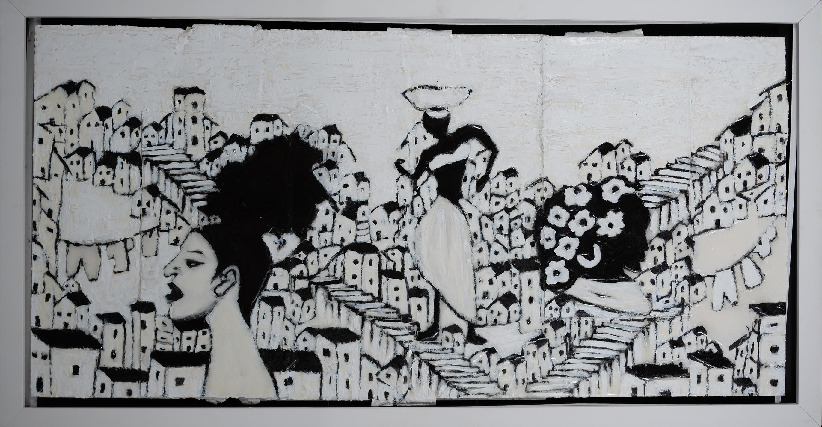 "Preto No Branco Todas Nos - 15.5"" x 30.5"" - Mix Media on Cardboard"