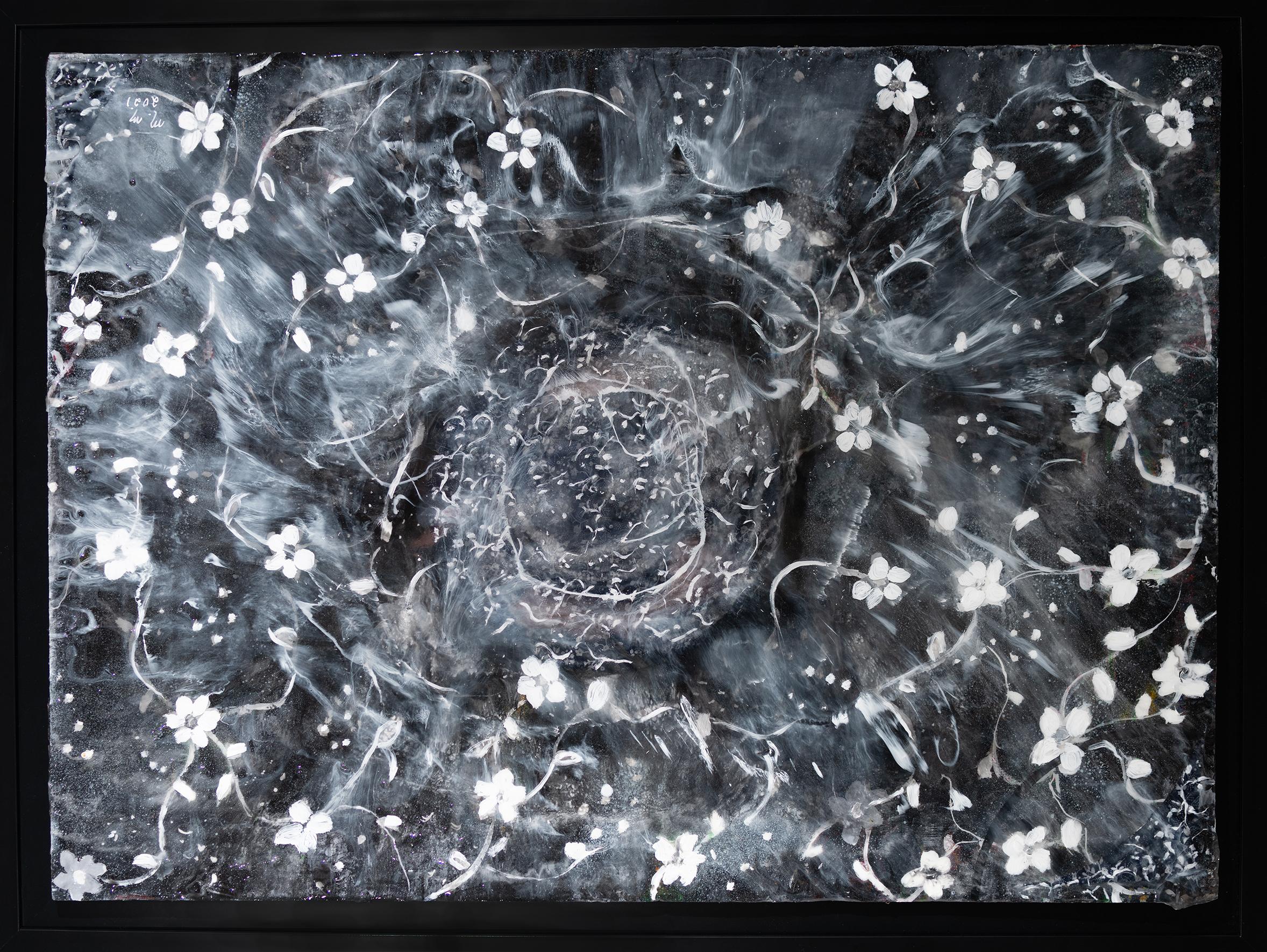 "Circle of Life Black - 23"" x 31.5"" - Mix Media on Cardboard"