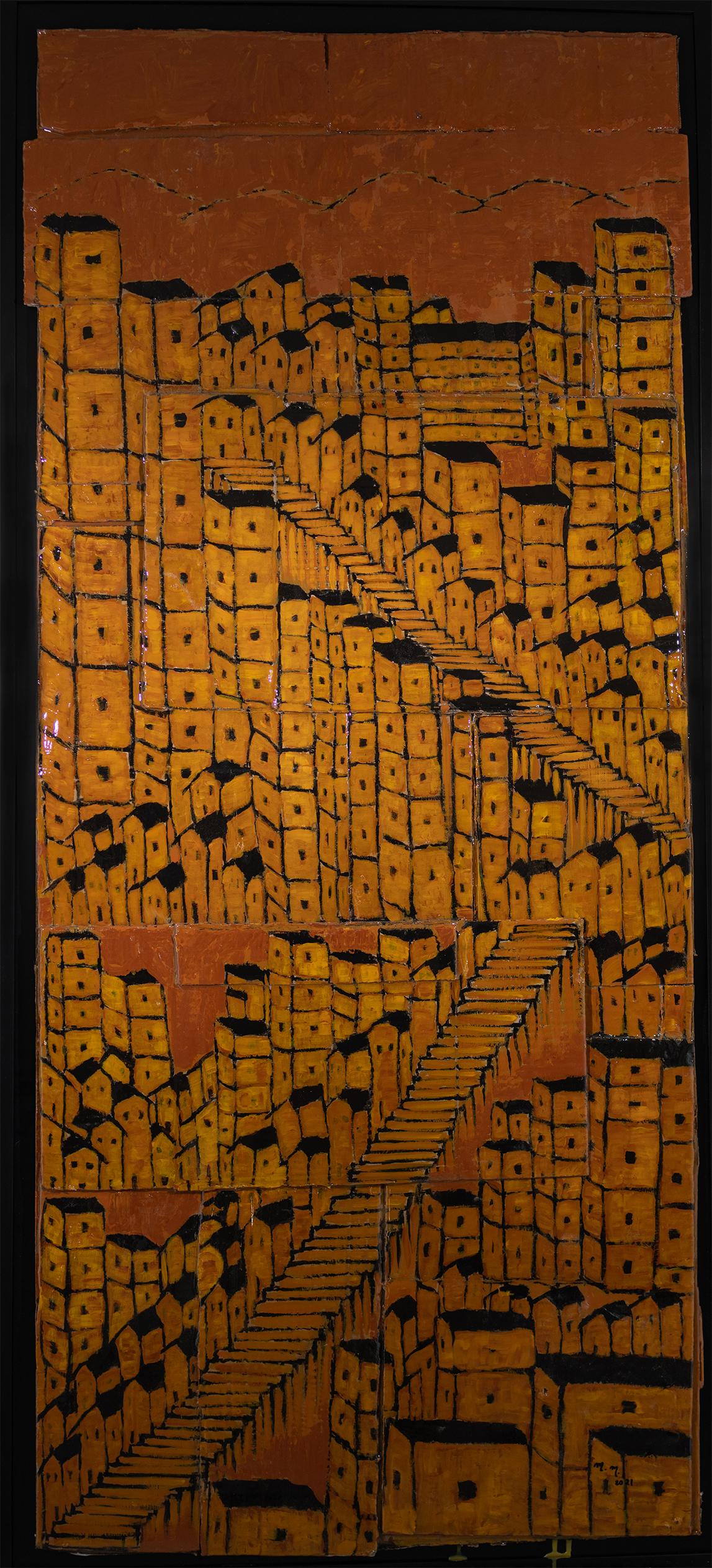 "Favela Cardboard - 60.5"" x 26"" - Mix Media on Cardboard"
