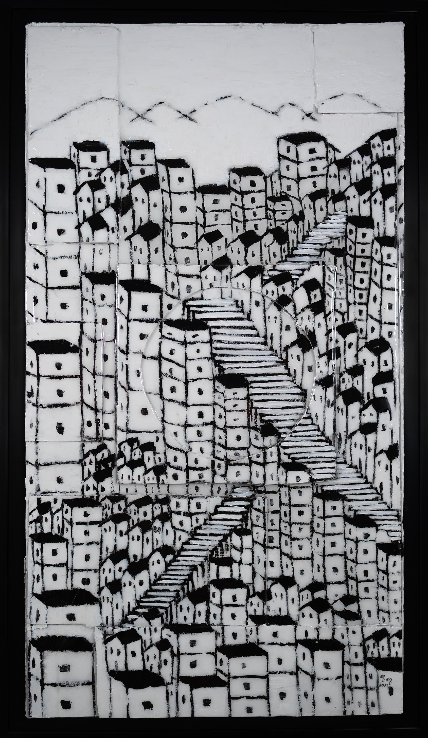 "Favela Branca - 43"" x 23"" - Mix Media on Cardboard"