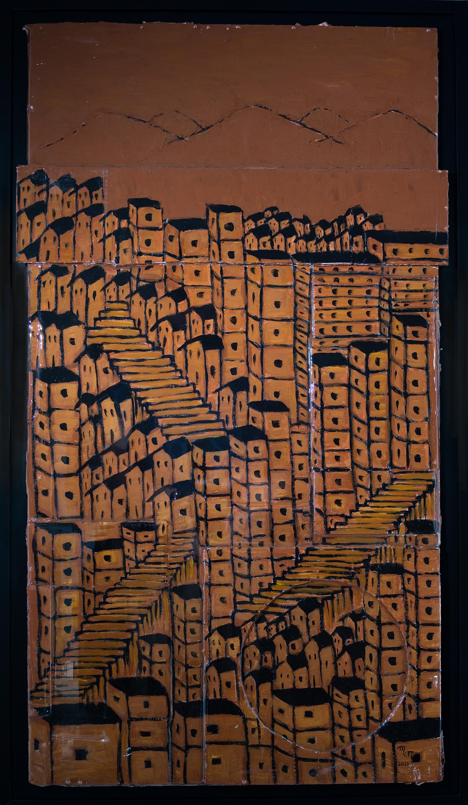"Favela Brown - 43"" x 23"" - Mix Media on Cardboard"