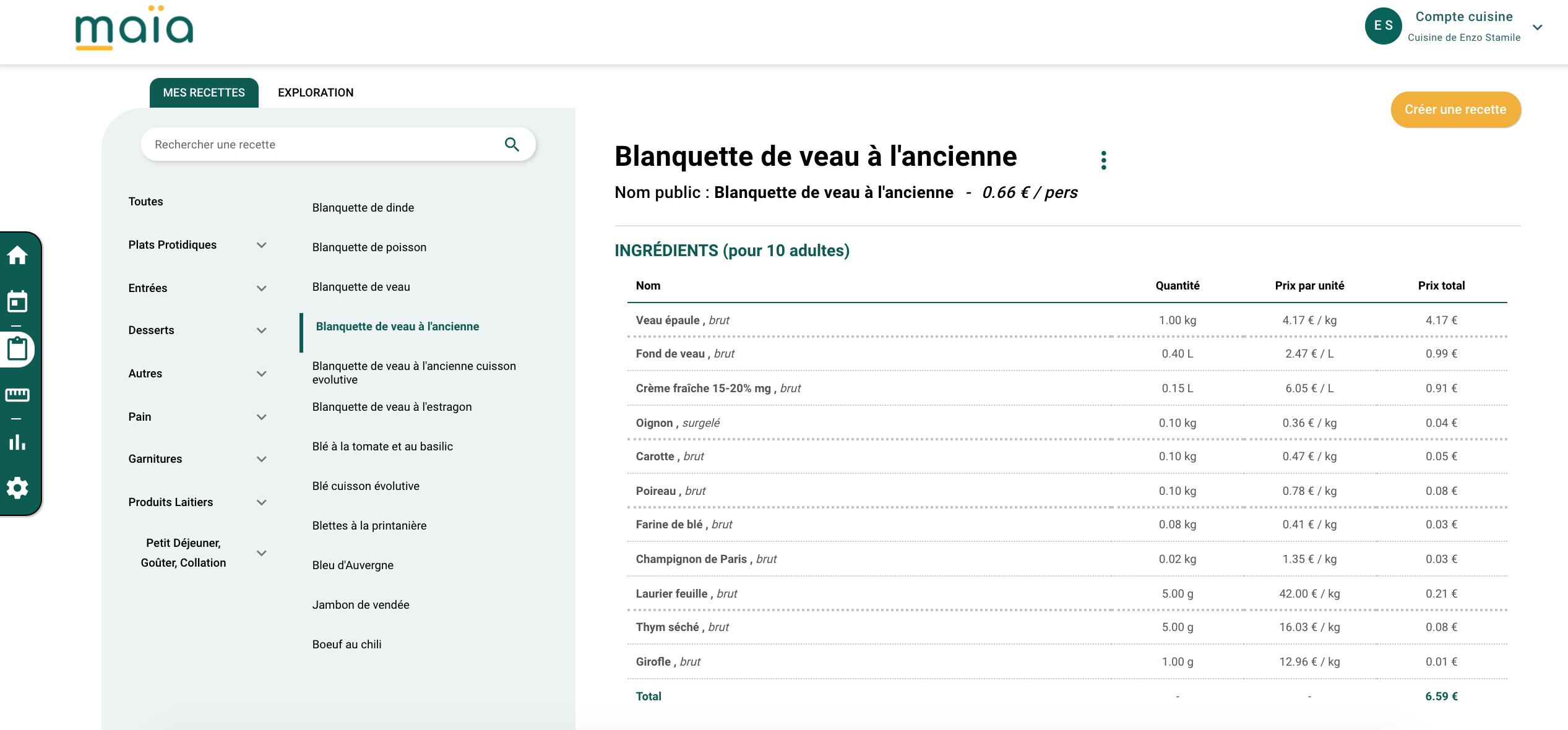 ajoutez et modifiez vos recettes, menus et grammages en un clic