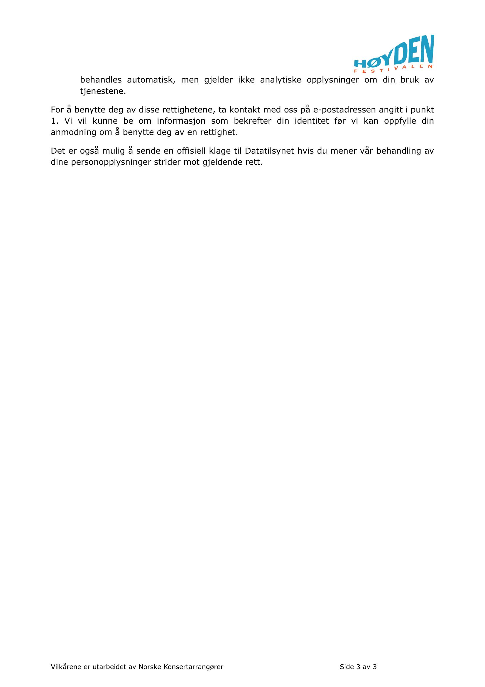 Personvernserklæring side 3.