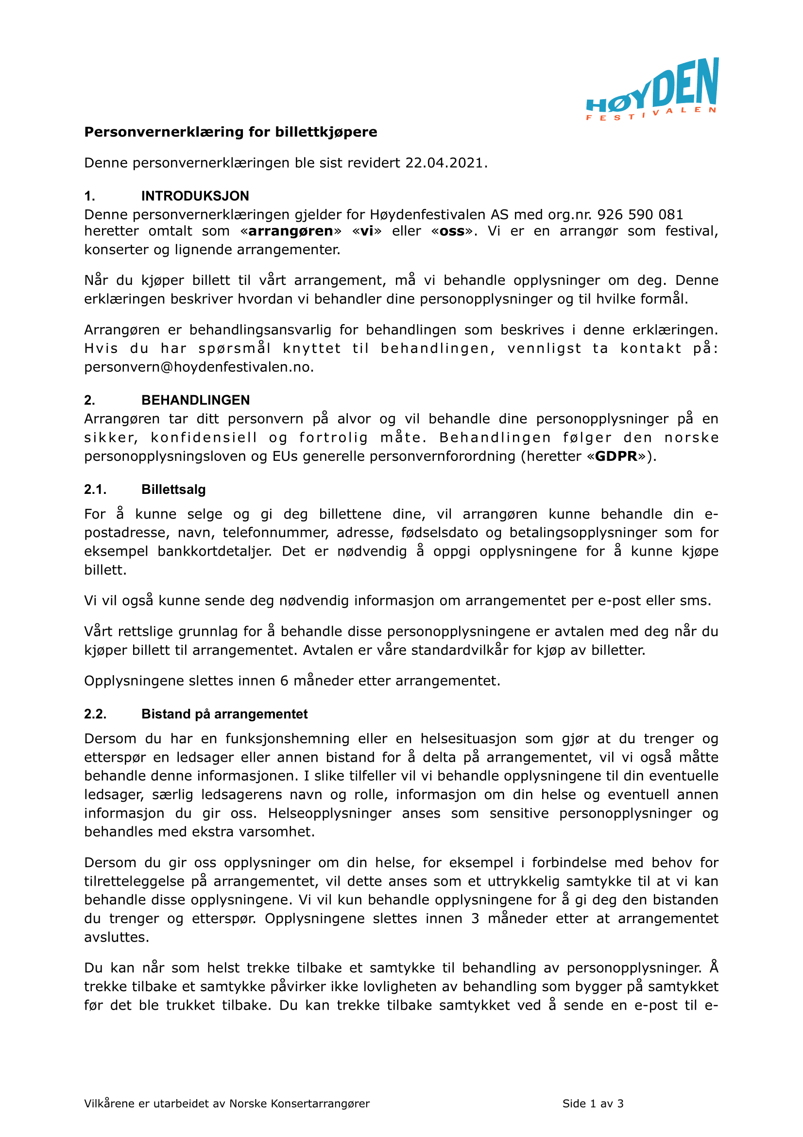 Personvernserklæring side 1.