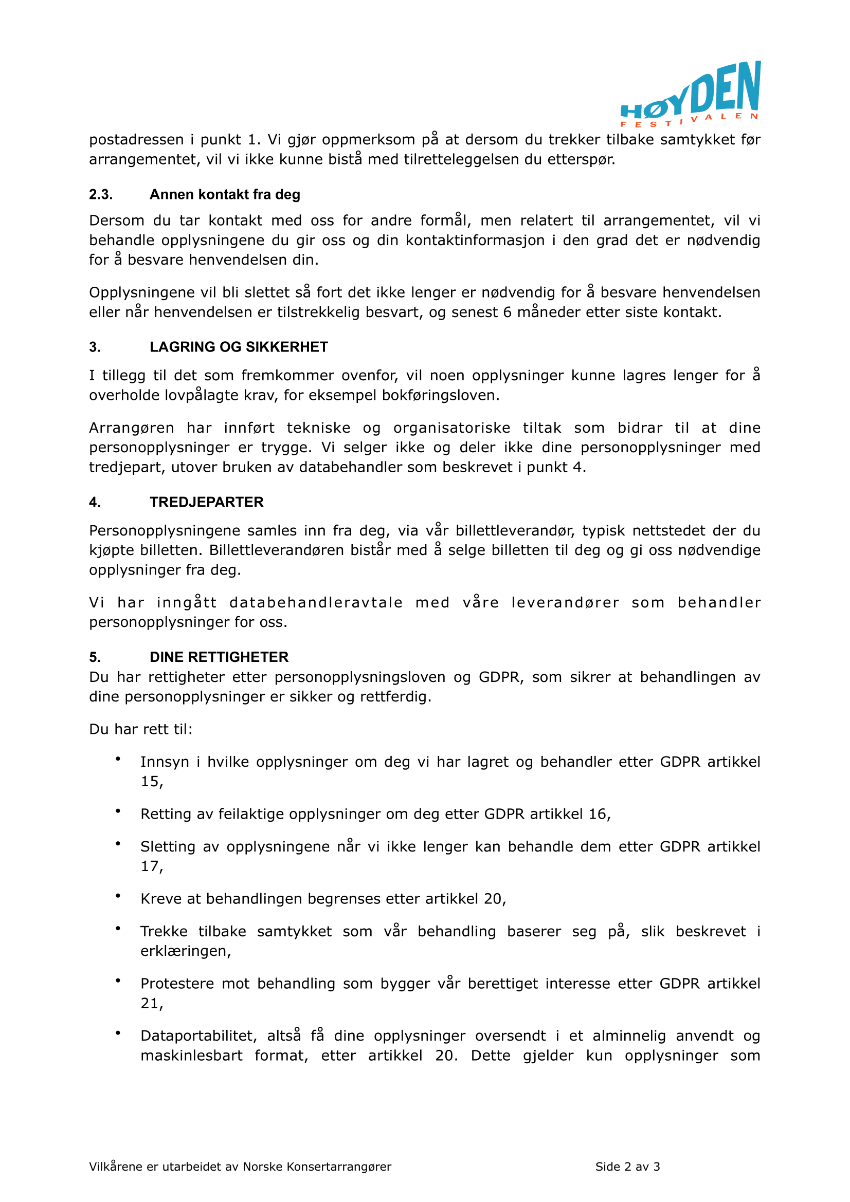 Personvernserklæring side 2.