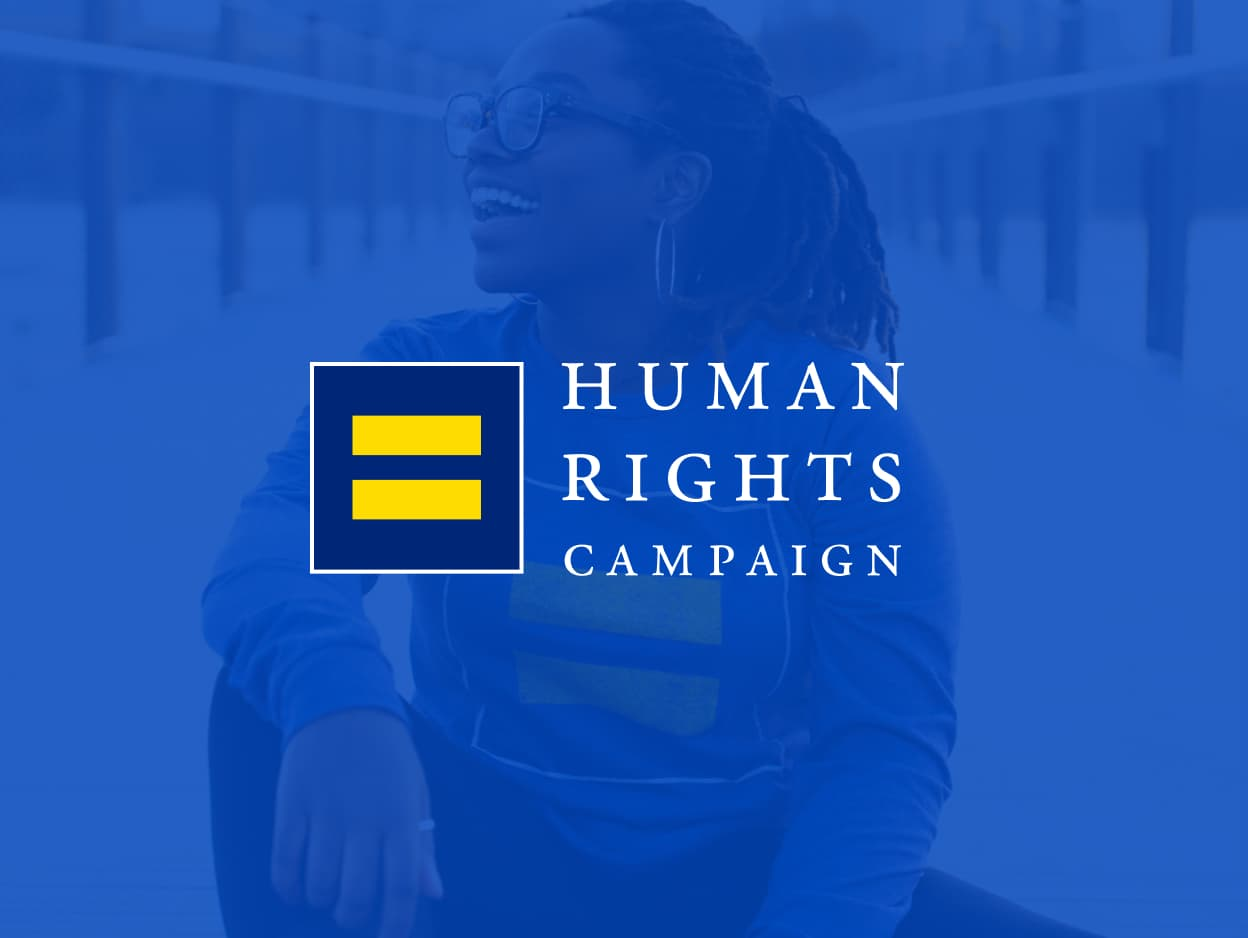 The Human Rights Campaign logo on a blue background, overlaying a woman smiling.