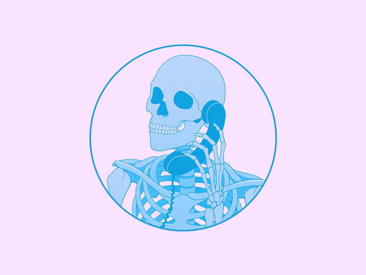 An illustration of a skeleton chatting on the phone in pink and blue colors.