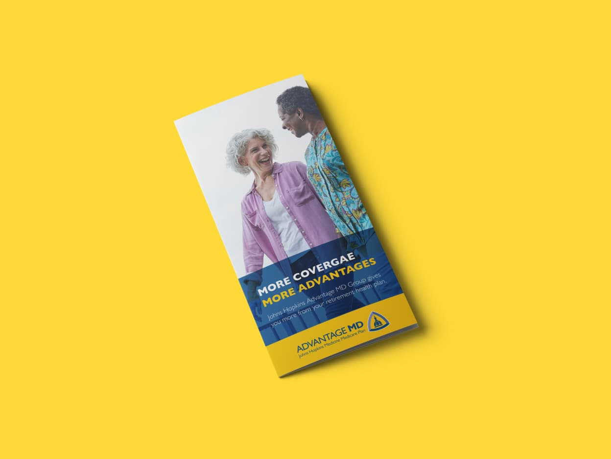 A brochure for Johns Hopkins Healthcare on a bright yellow background.