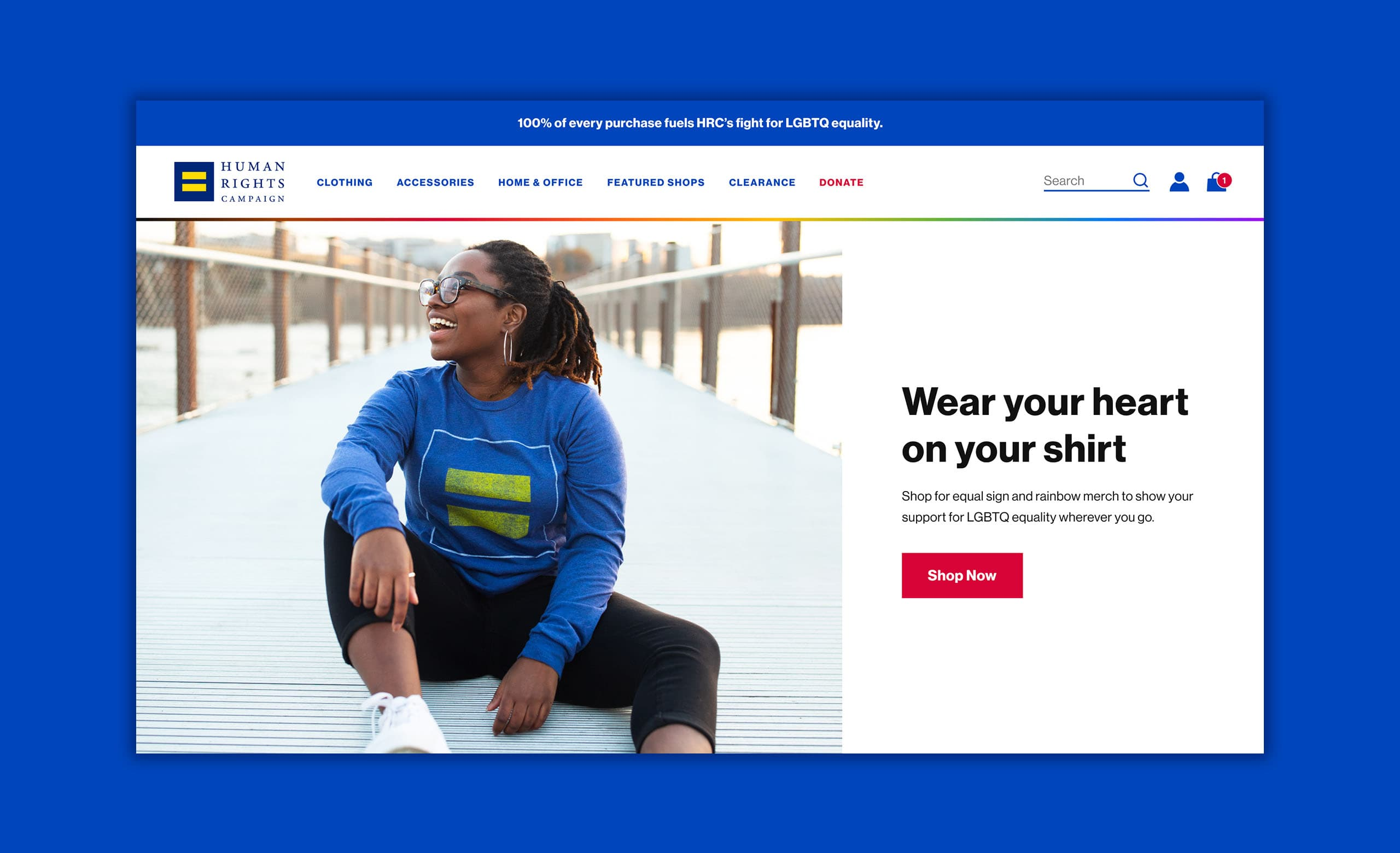 The desktop hero section of the homepage of HRC's ecommerce merchandise store.