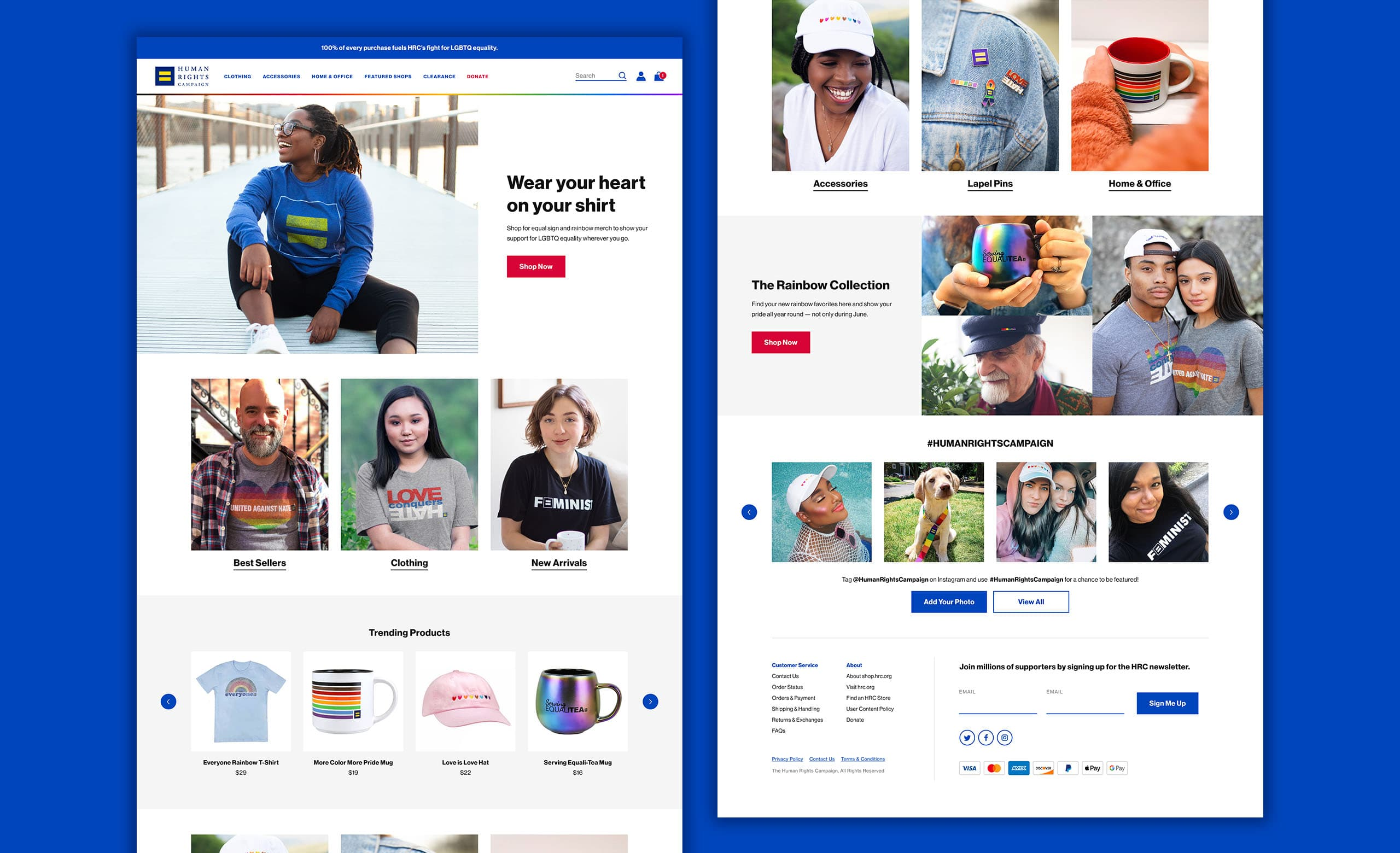The desktop homepage of HRC's ecommerce merchandise store, showing a diverse group of people wearing HRC merchandise.