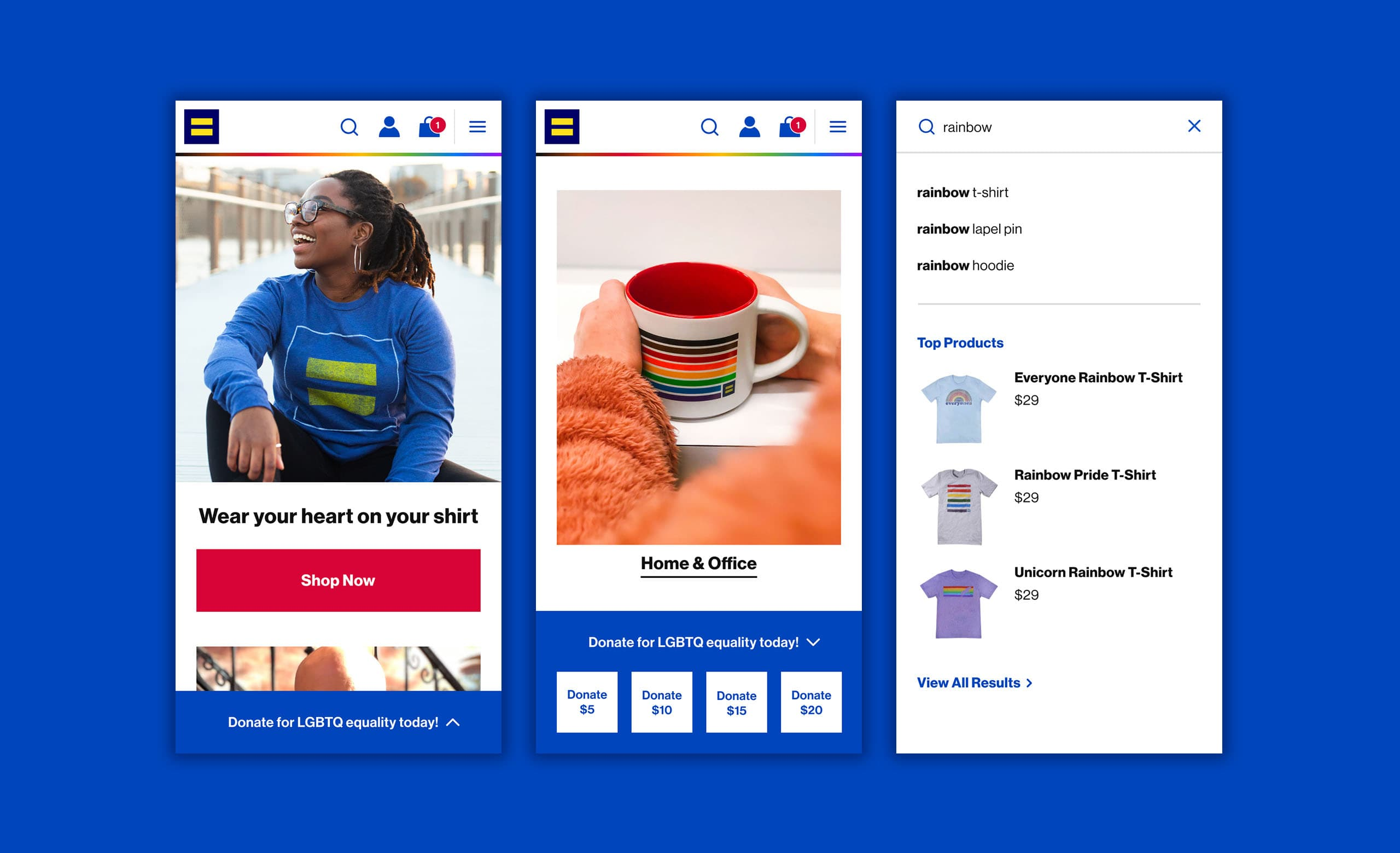 The mobile website design for the Human Rights Campaign's ecommerce merchandise store.