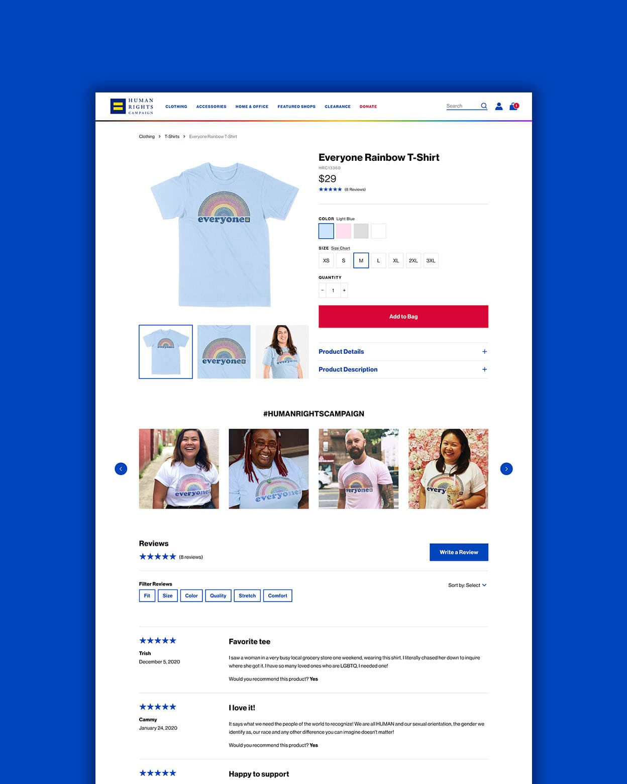 The desktop product page for the Human Rights Campaign's ecommerce store.