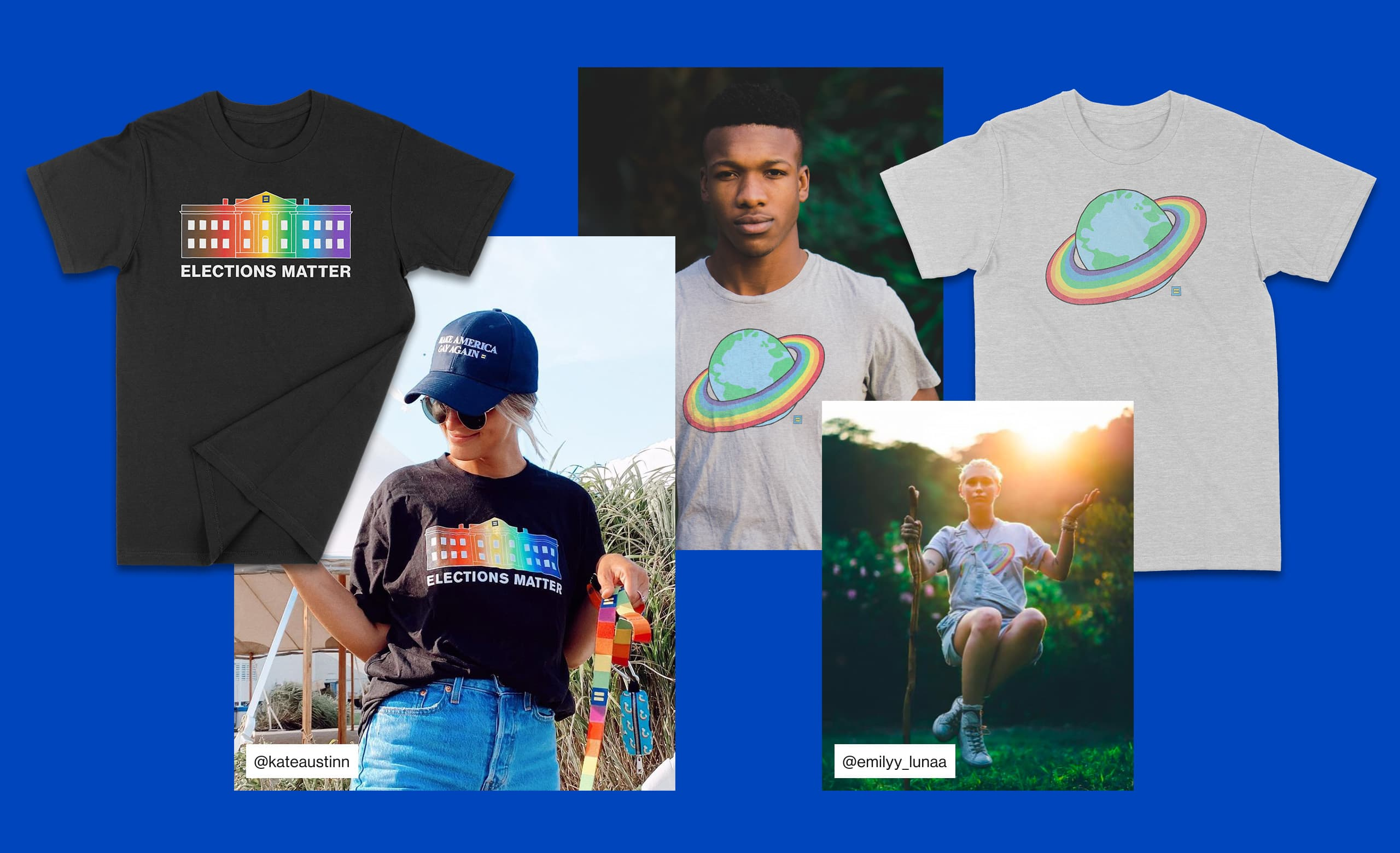 A collage of several rainbow t-shirt designs created for HRC.