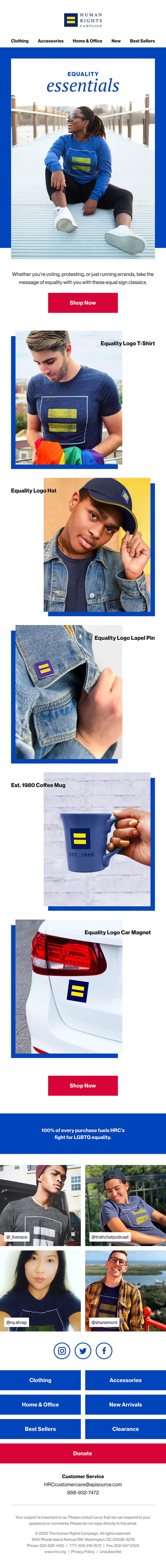 An email newsletter promoting merchandise featuring HRC's equal sign logo.