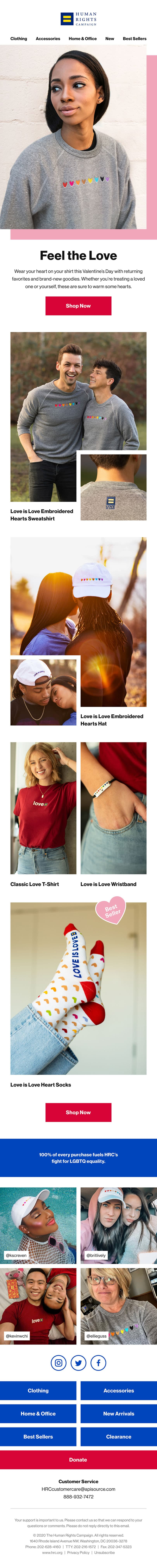 An email newsletter promoting Valentine's Day themed merchandise for HRC.
