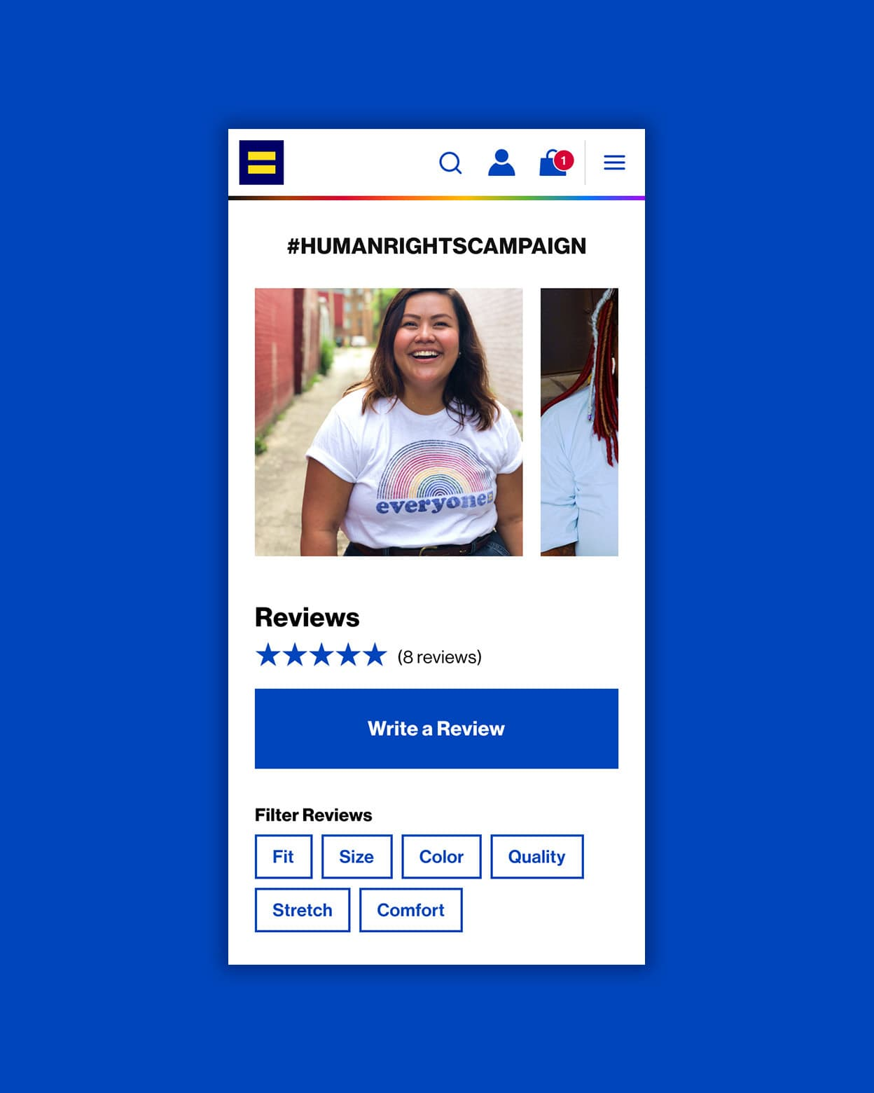 The mobile product page for the Human Rights Campaign's ecommerce store.