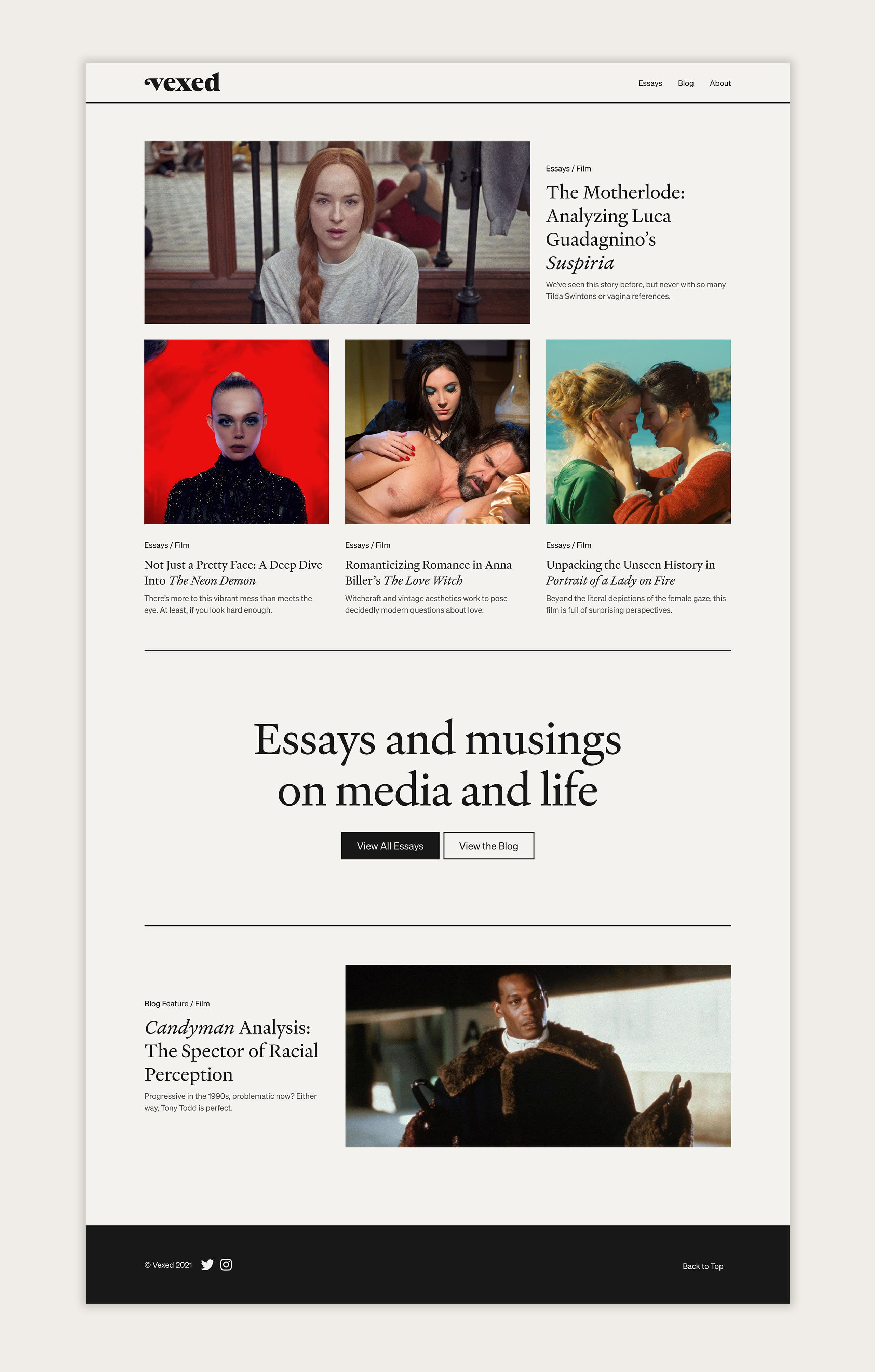 The desktop homepage of the Vexed website, showing previews for the essay and blog content on the site.