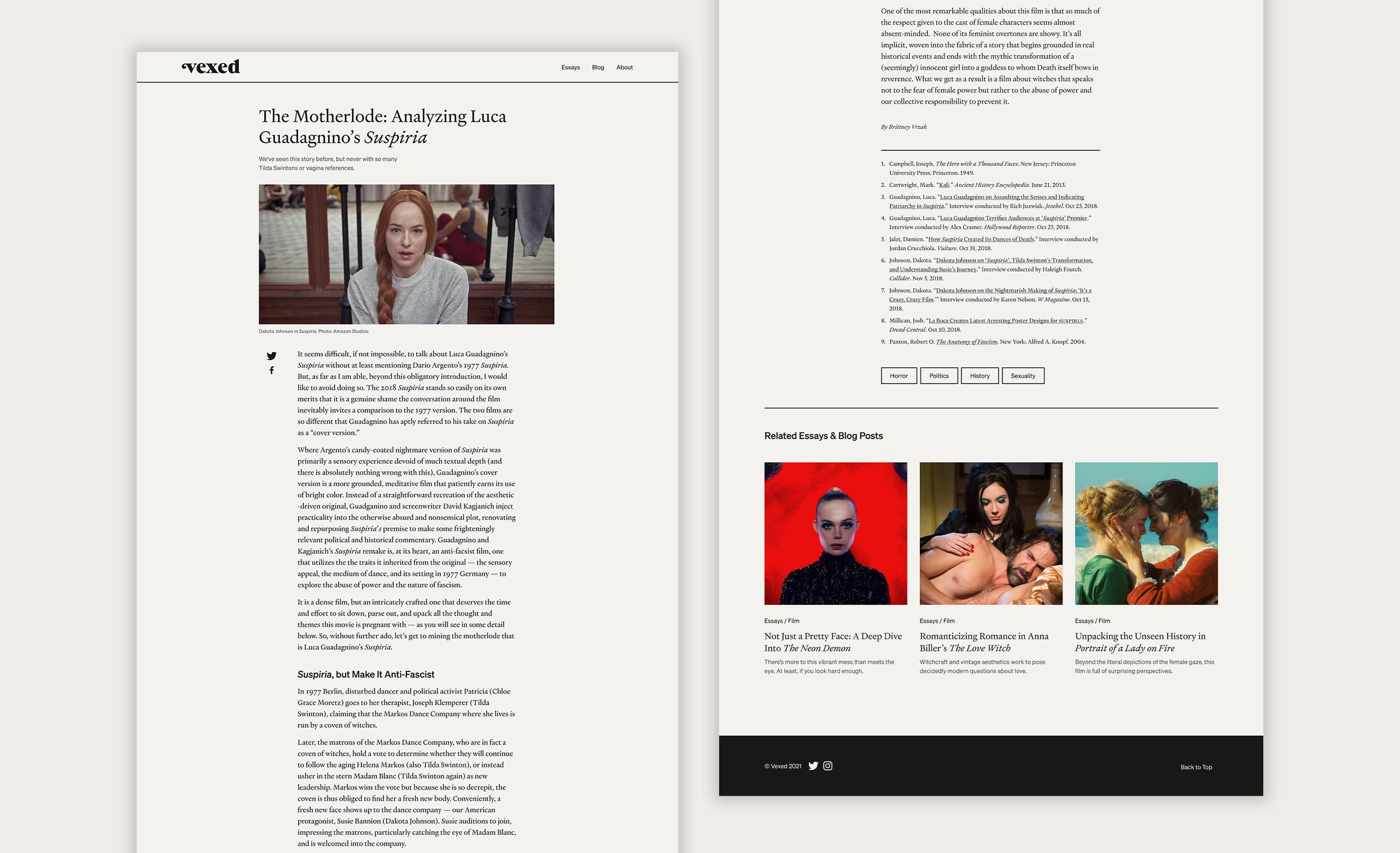 An example of a desktop essay page on the Vexed website.