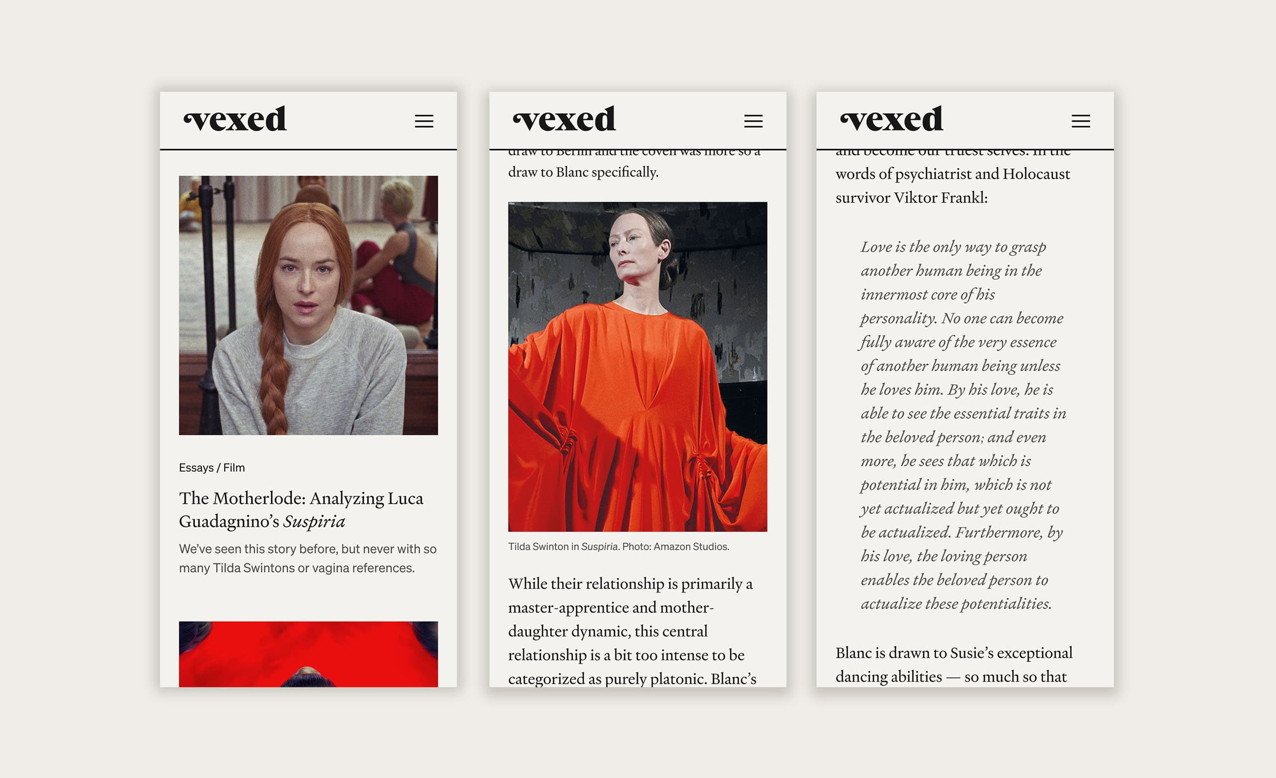 The mobile design for the Vexed website.