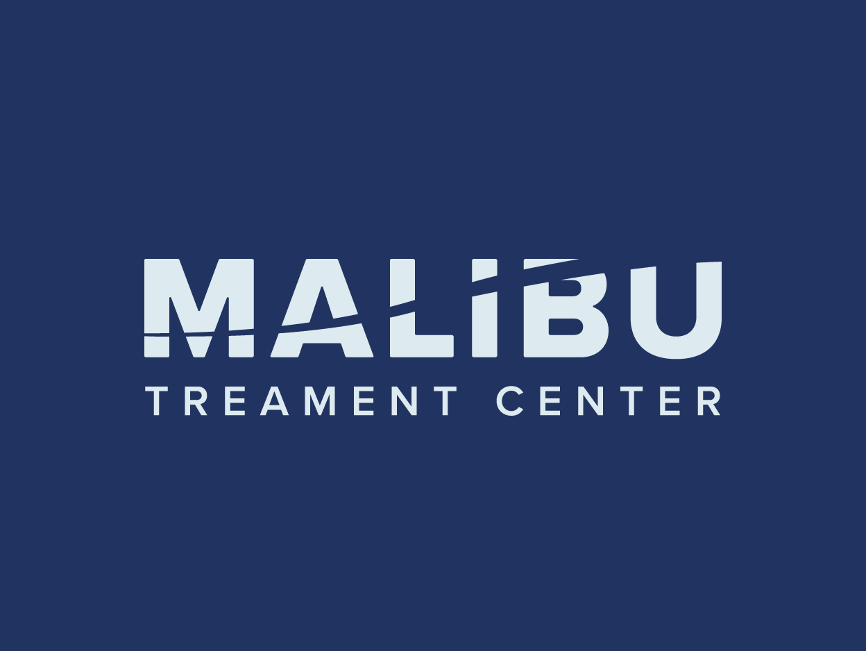 """A white logotype of the words """"Malibu Treatment Center"""" on a dark blue background."""