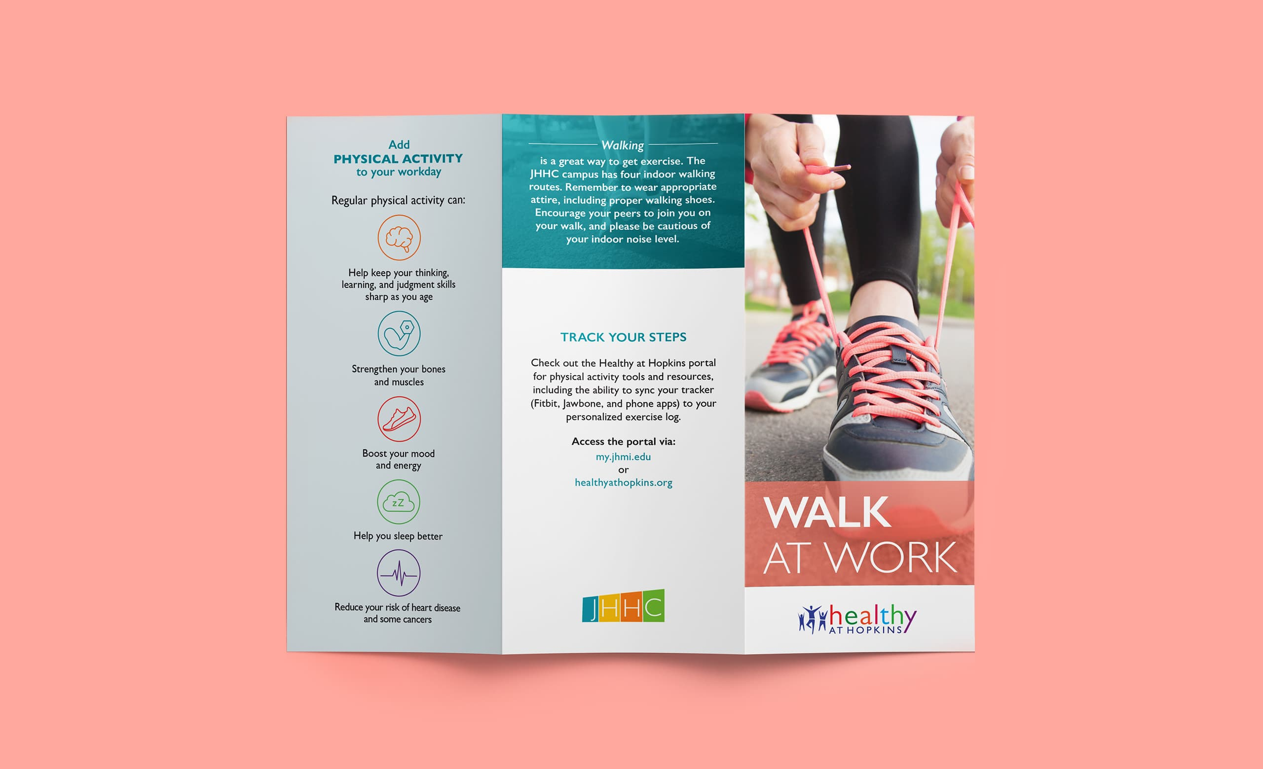 The front of a brochure for Johns Hopkins Healthcare, promoting healthy habits in the workplace.