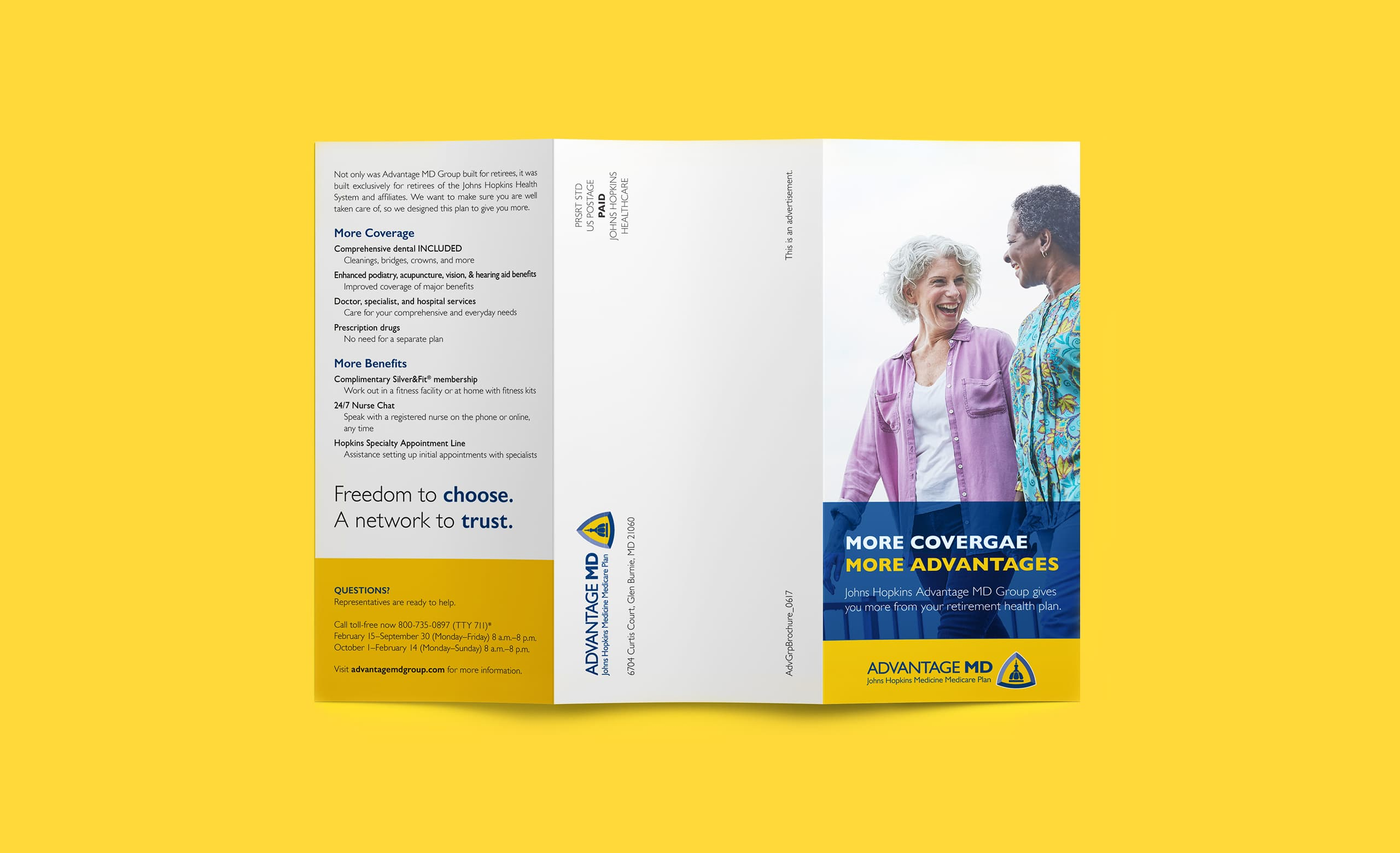 The front of a brochure for Johns Hopkins Healthcare, promoting health insurance and featuring two women smiling.