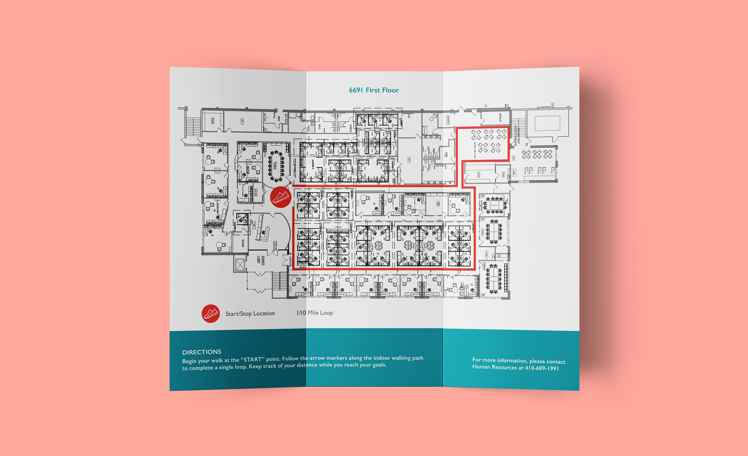 The front of a brochure for Johns Hopkins Healthcare, showing a map of the workplace and where employees could take a long walk.