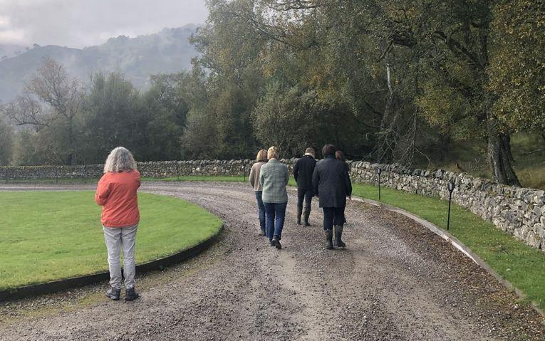 Ein kleine Gruppe von Leuten geht auf einem Schotterweg inmitten der Natur.