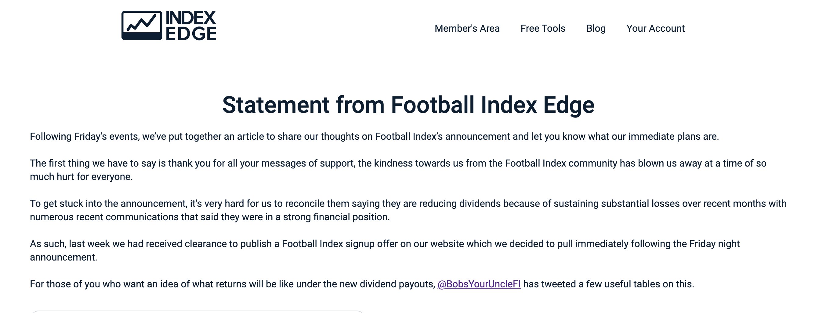 Statement from Football Index Edge